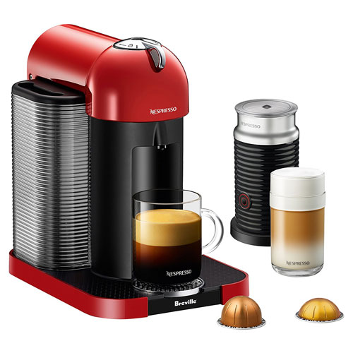 1. Breville BNV250RED1BUC1 Nespresso Vertuo Coffee and Espresso Machine with Aeroccino, Red